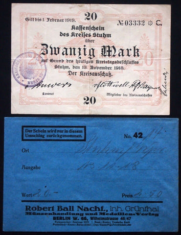 STUHM 1918 20 Mark Grossnotgeld + orig. Robert Ball envelope! West Prussia Germany