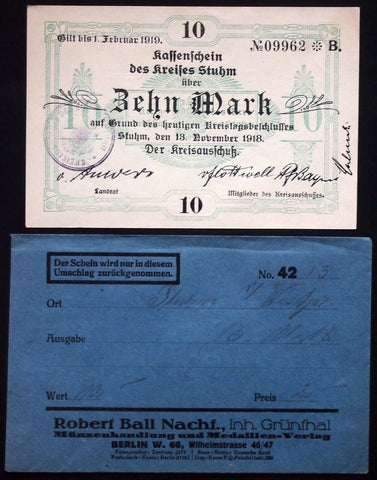 STUHM 1918 10 Mark Grossnotgeld + orig. Robert Ball envelope! Germany