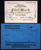 STUHM 1918 5 Mk Grossnotgeld + orig. Robert Ball envelope! Germany West Prussia