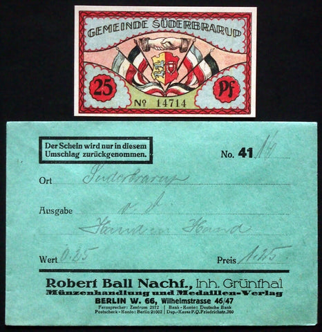 "SÜDERBRARUP 1921 ""Danish King/German Dragon"" in RARE Robert Ball envelope! 25 Pf"