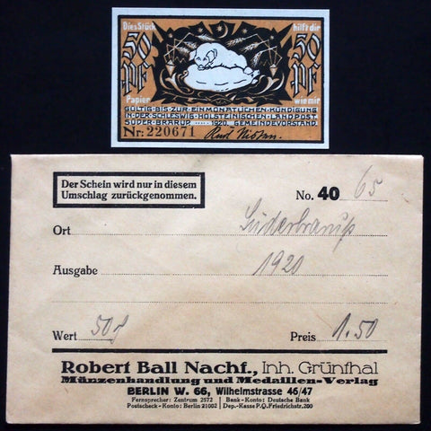 "SÜDERBRARUP 1920 ""Swine in Love"" in RARE Robert Ball envelope! German Notgeld"