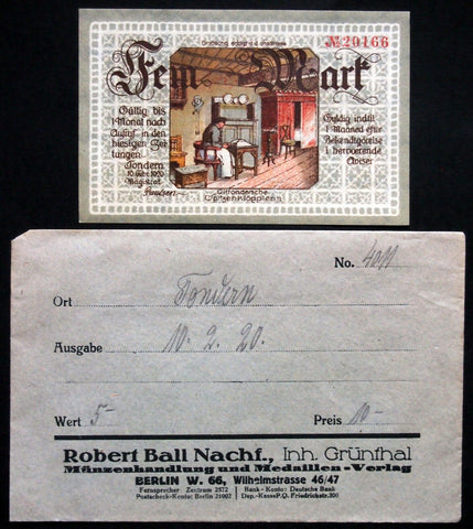 TONDERN 1920 5 Mark German-Danish Notgeld + RARE Robert Ball envelope!