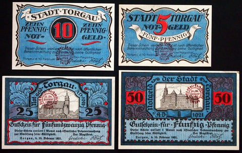 "TORGAU 1921 ""Roofers' Union"" RARE stamp! complete series Notgeld Germany"