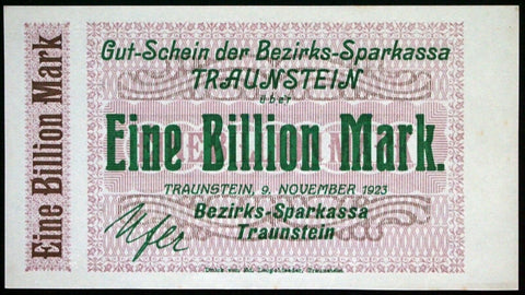 TRAUNSTEIN 1923 Uncataloged SPECIMEN! 1 Trillion Mark Hyperinflation Notgeld