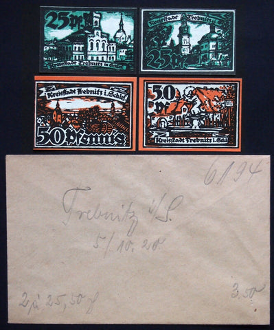 TREBNITZ 1920 complete + RARE Robert Ball envelope! circulating German Notgeld