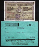 TRIBERG 1918 10 Mark Grossnotgeld + RARE Robert Ball envelope! German Notgeld