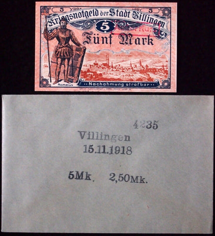 VILLINGEN 1918 5 Mark Grossnotgeld in RARE Robert Ball Envelope! German Notgeld