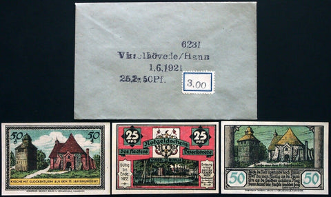 VISSELHÖVEDE 1921 complete series w/rare Robert Ball Envelope! German Notgeld
