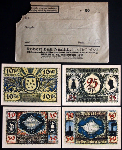VOLKSTEDT 1921 complete series w/rare Robert Ball Envelope! German Notgeld