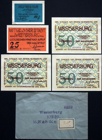 WESTERBURG 1920 two complete sets! w/rare Robert Ball Envelope! German Notgeld