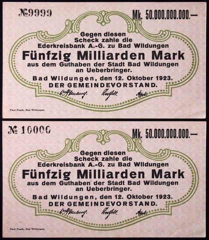 BAD WILDUNGEN 1923 Serial nos. 9999 and 10000 consecutive! 50 Billion Mark Inflation Notgeld