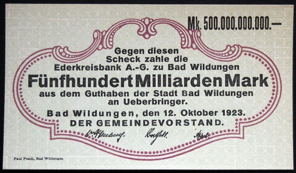 BAD WILDUNGEN 1923 500 Billion Mark Inflation Notgeld 500 Milliarden Banknote