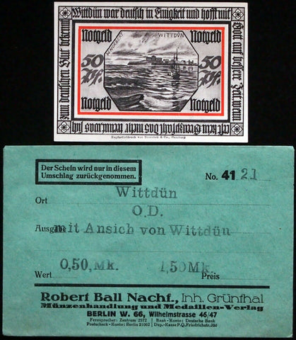 "WITTDÜN 1921 ""View of Wittdün"" in RARE Robert Ball Envelope! German Notgeld"