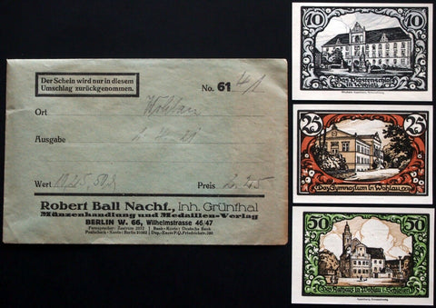 WOHLAU 1921 complete set w/rare Robert Ball Envelope! circulating German Notgeld