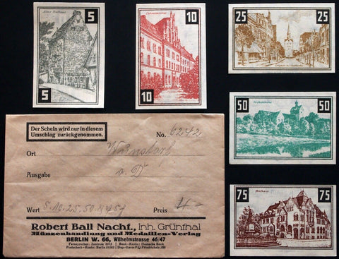 WUNSTORF 1921 complete series w/rare Robert Ball Envelope! German Notgeld