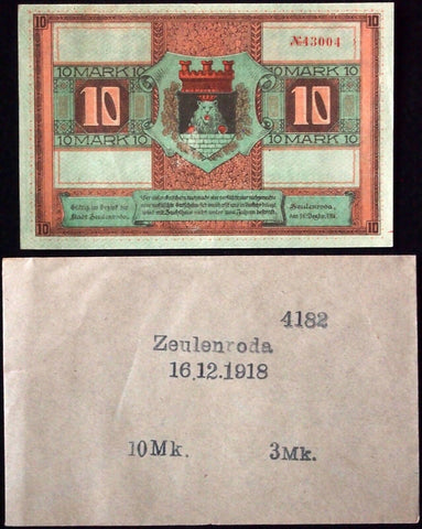 "ZEULENRODA 1918 10 Mark ""King Hamster"" Robert Ball Envelope! German Notgeld"