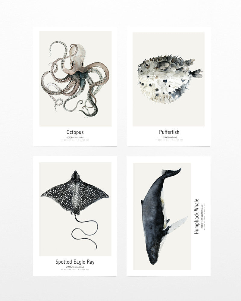 4 x mini art prints Ocean