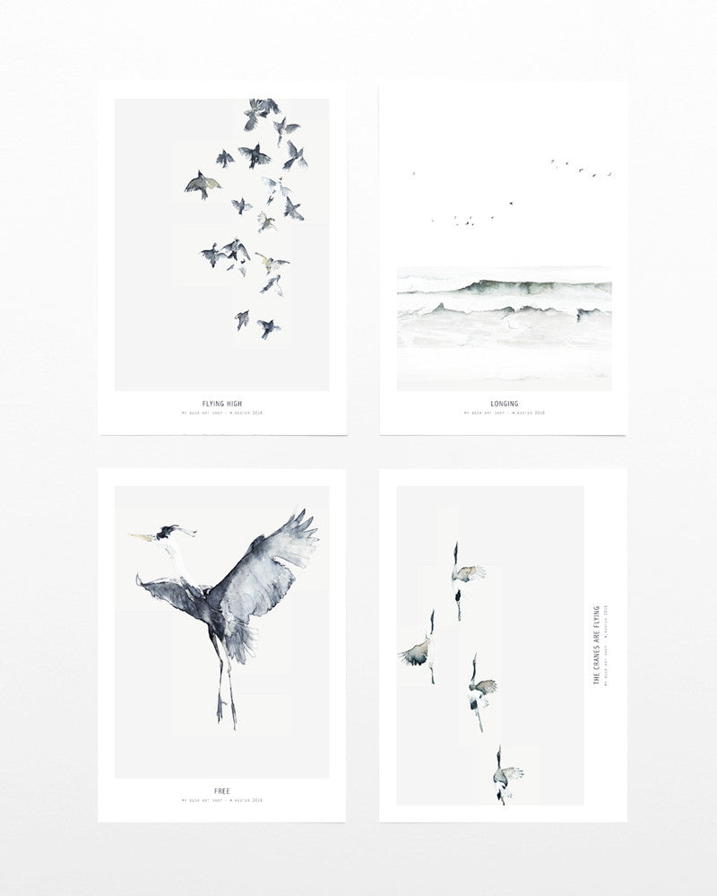 4 x mini art print Birds