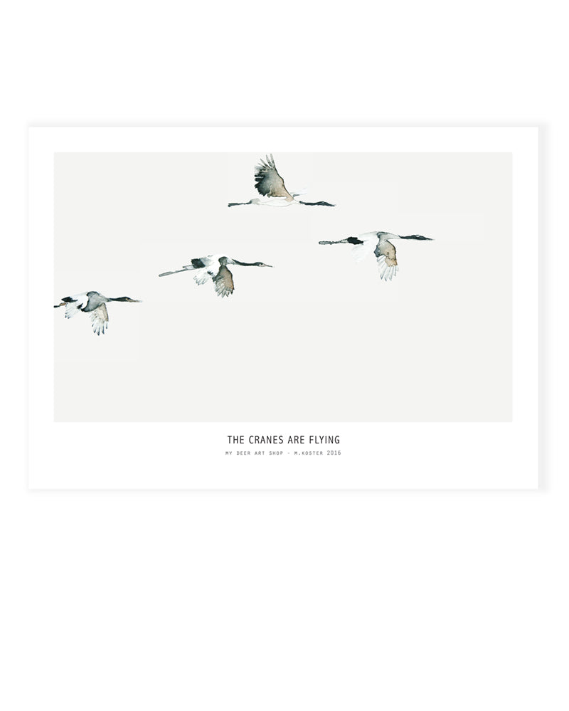 A5 Mini art print - Cranes are flying