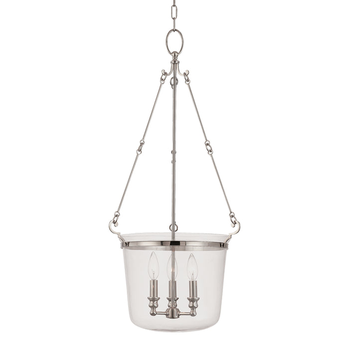Quinton Polished Nickel Three Light Pendant by Hudson Valley