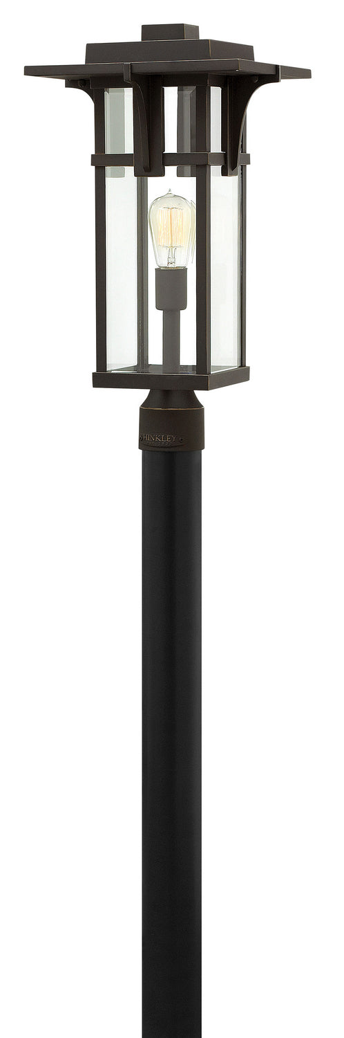 Hinkley One Light Post Top/ Pier Mount in Oil Rubbed Bronze finish from the Manhattan collection