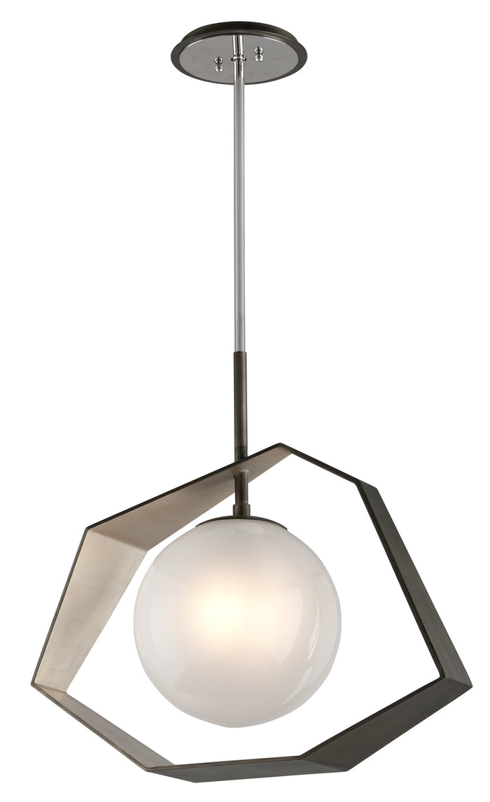 Origami Graphite With Silver Leaf LED Pendant by Troy Lighting