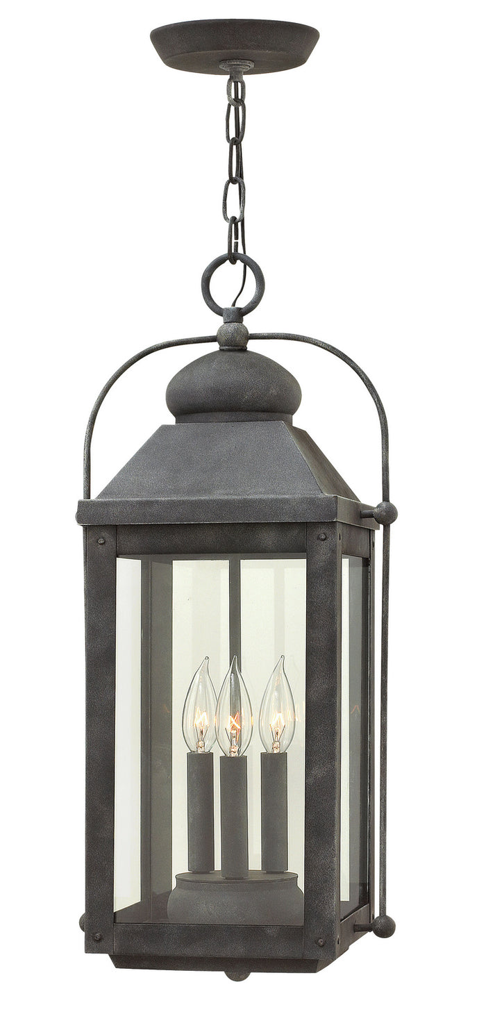 Anchorage Aged Zinc Three Light Hanging Lantern by Hinkley