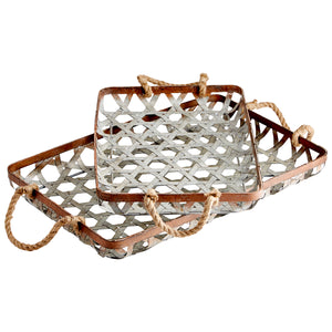 Cyan - 09850 - Tray - Galvanized And Jute