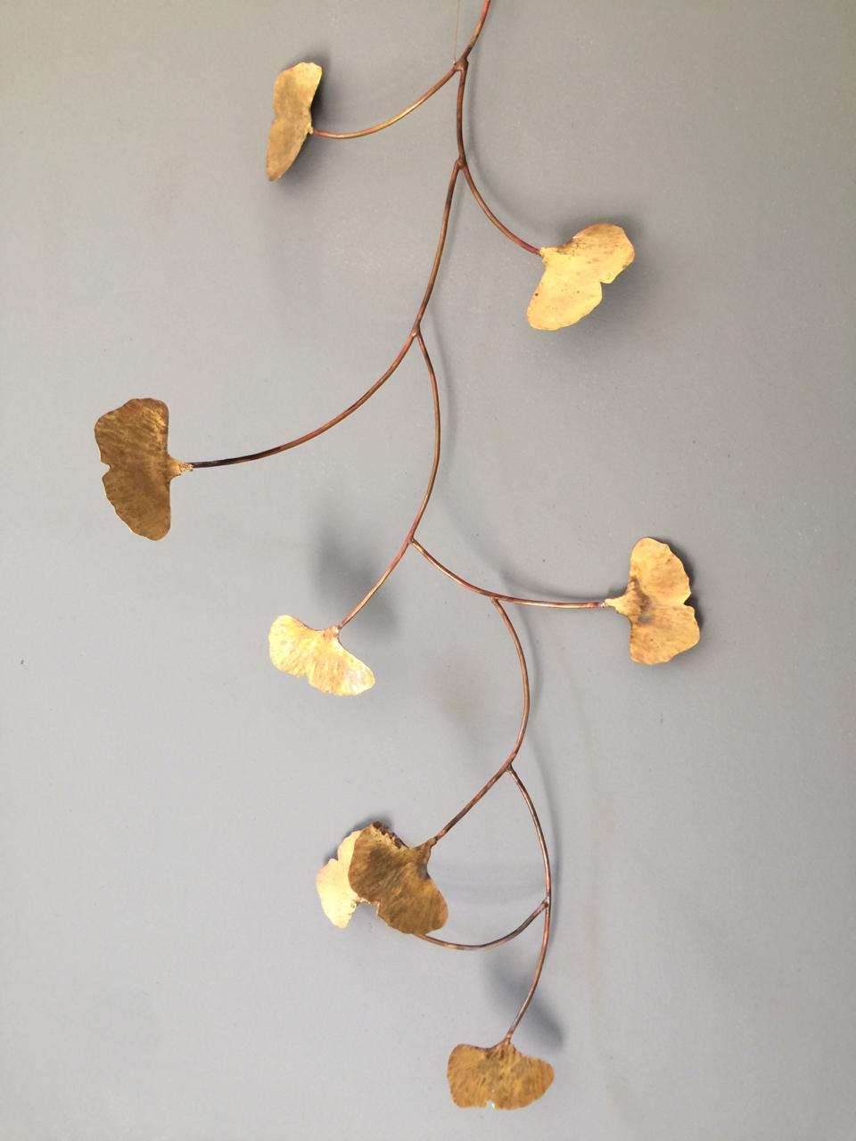 Ginkgo leaf brass mobile