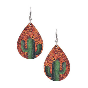 Leather Teardrop Cactus Earrings