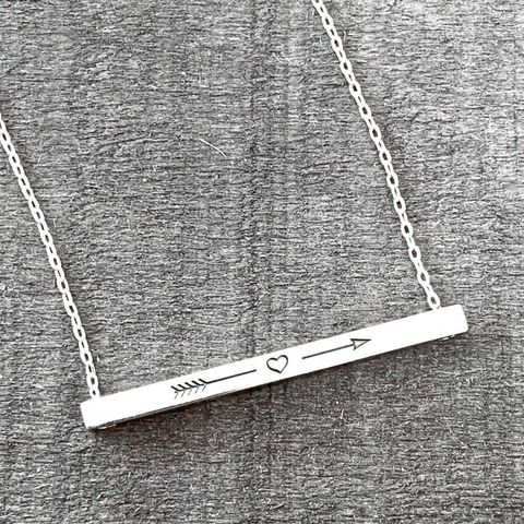 Silver Bar Necklace with Arrow & Heart
