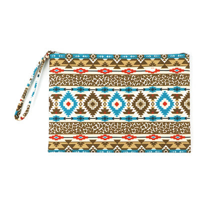 Western Zippered Pouch - Brown & Teal