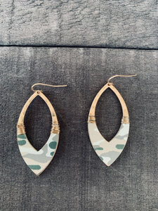 Gold Camo Teardrop Earrings