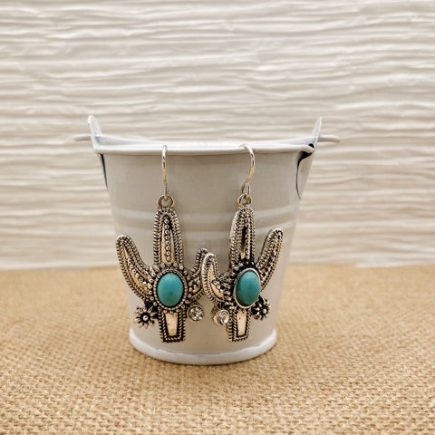 Silver Cactus Turquoise Earrings