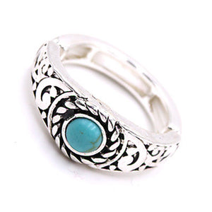 Silver Filigree Ring with Turquoise Stone
