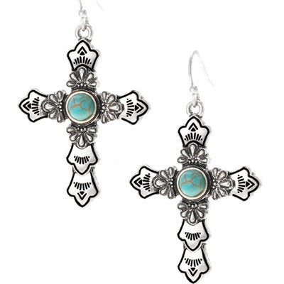 Silver Cross Earrings with Turquoise Stone