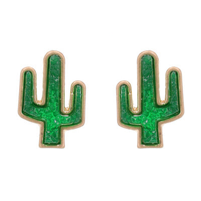 Gold Earrings & Green Cactus