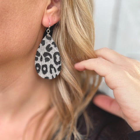 Leopard Teardrop Earrings Silver and Black