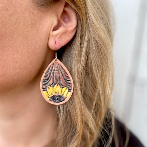 Leather Teardrop Sunflower Earrings