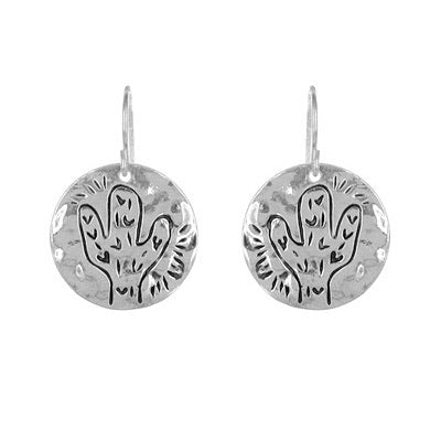 Silver Circle Cactus Earrings