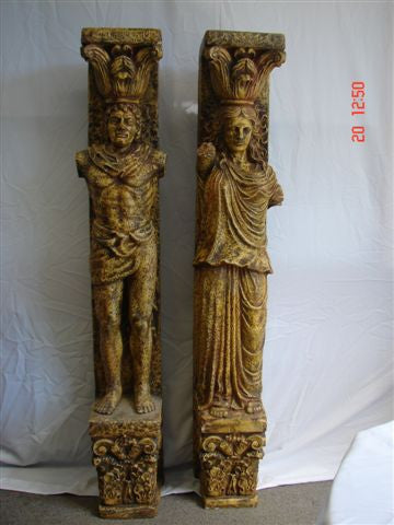 Column, Aged Gold with Figurines