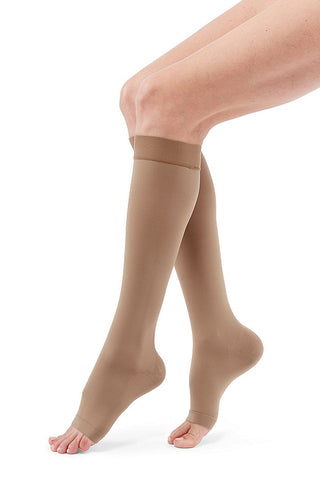 BELOW THE KNEE 15-20 mmHg OPEN TOE COMPRESSION STOCKING SMALL BEIGE