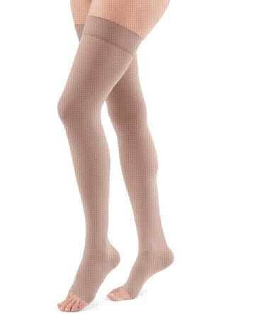 THIGH LENGTH 15-20 mmHg BEADED TOPBAND COMPRESSION STOCKING OPEN TOE PETITE MEDIUM BEIGE