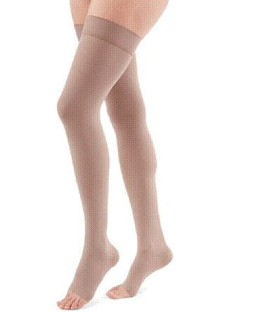 THIGH LENGTH 15-20 mmHg BEADED TOPBAND COMPRESSION STOCKING OPEN TOE PETITE X-LARGE BEIGE