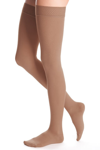 THIGH LENGTH 15-20 mmHg BEADED TOPBAND COMPRESSION STOCKING PETITE SMALL BEIGE