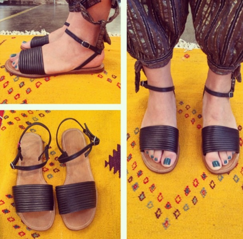 JILL LINDSEY Black Leather Sandals