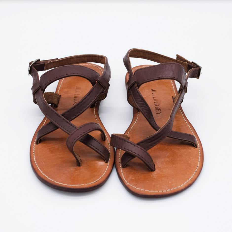 Jill Lindsey Brown Leather Sandal