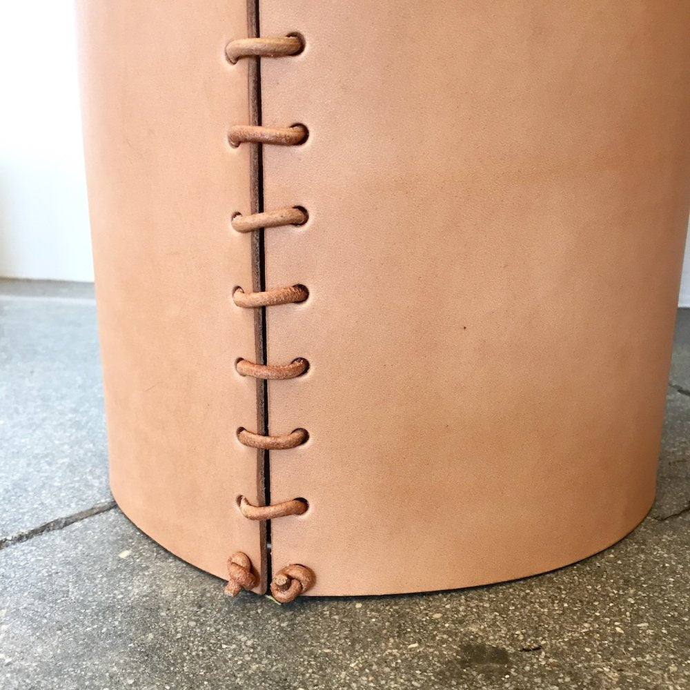 Made Solid Leather wrapped vase