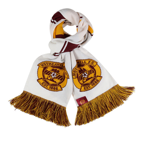 Super Crest Bar Scarf White