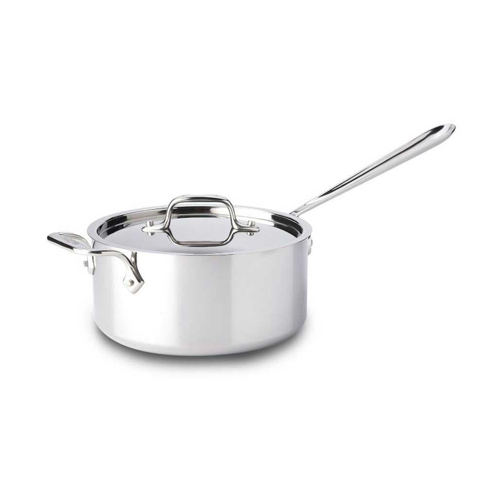 All Clad D3 4 Qt Saucepan with Extra Loop Handle and Lid